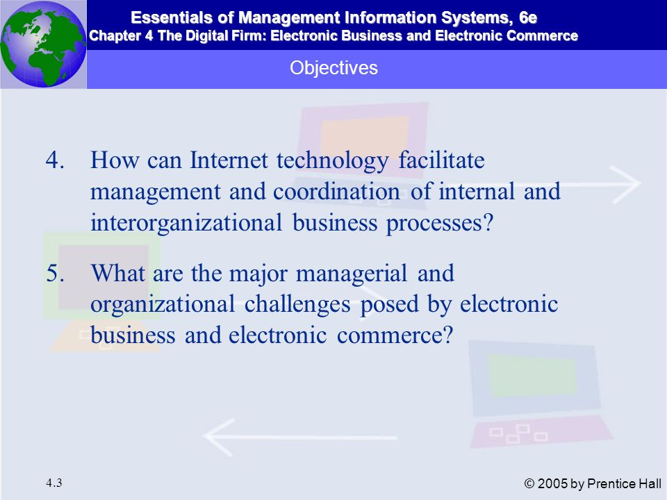 Objectives How can Internet technology facilitate management and coordination of internal and interorganizational business processes