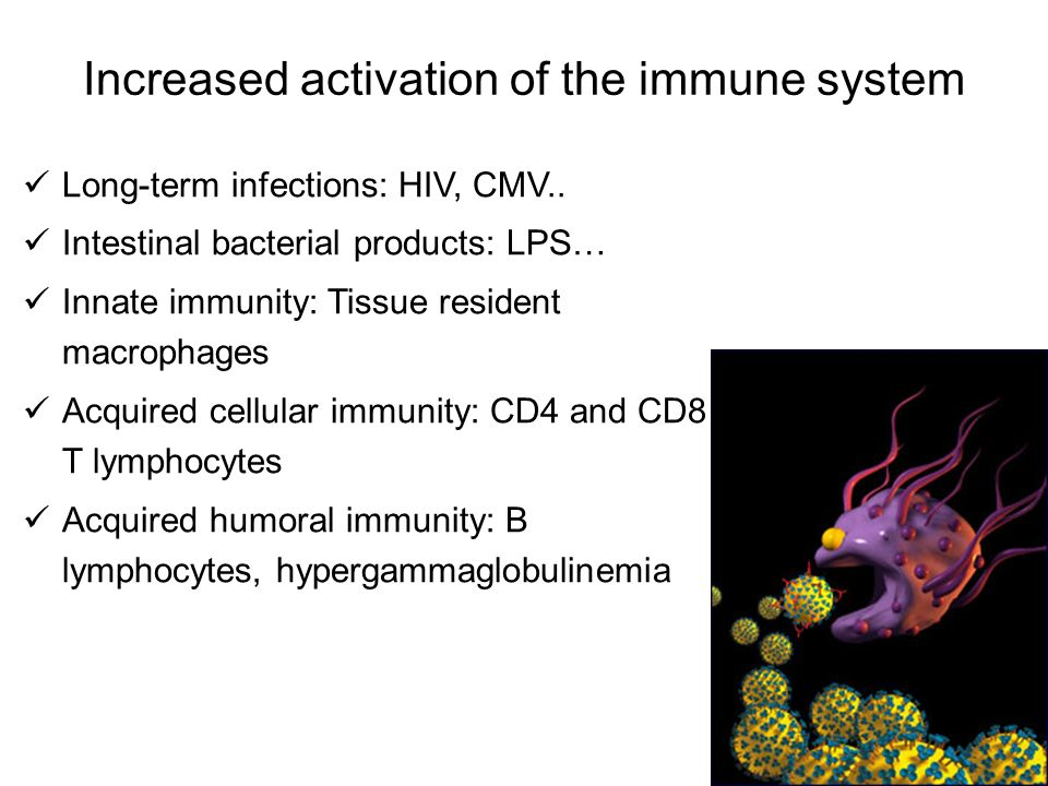 Increased activation of the immune system