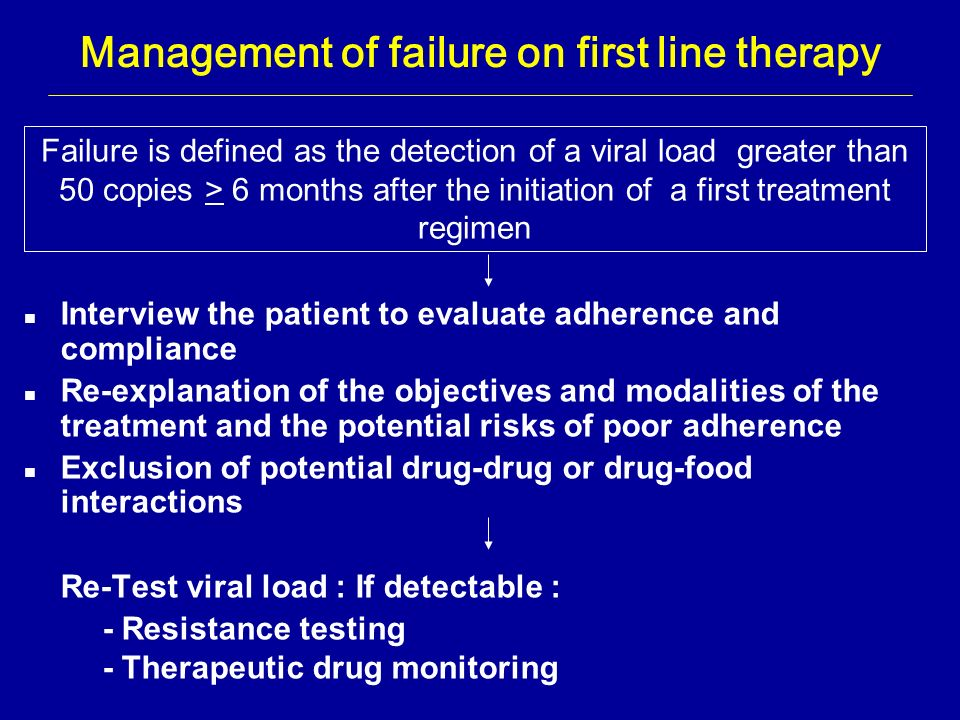 Management of failure on first line therapy