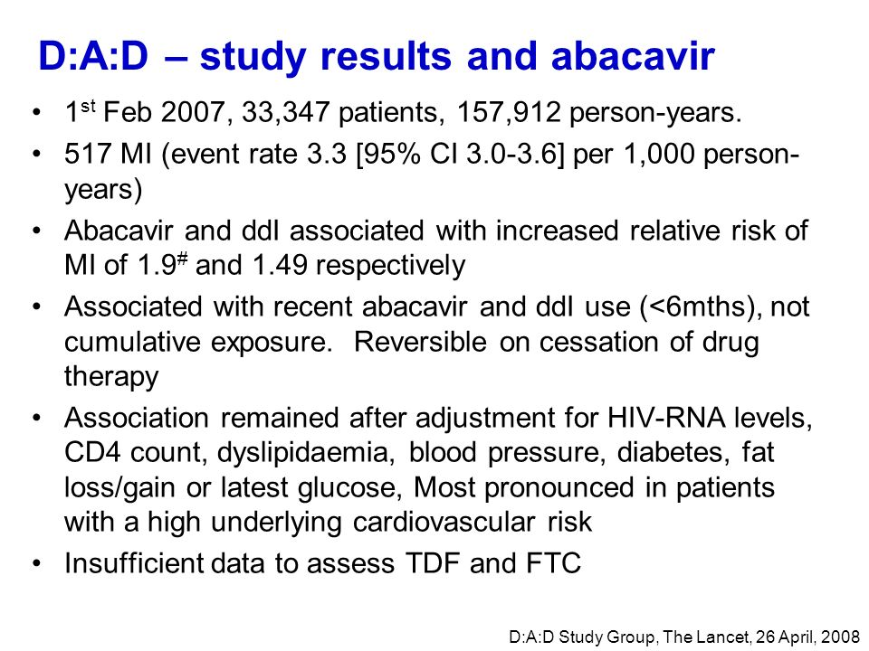 D:A:D – study results and abacavir