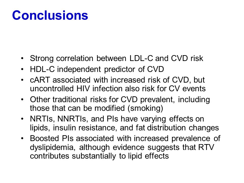Conclusions Strong correlation between LDL-C and CVD risk