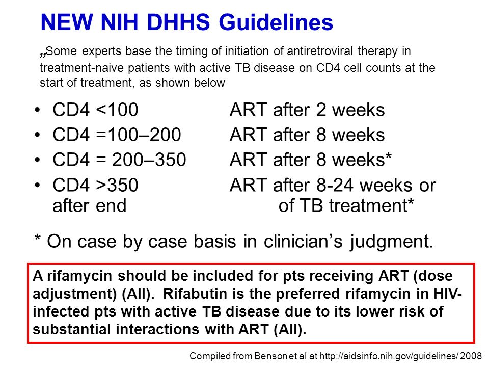 "NEW NIH DHHS Guidelines ""Some experts base the timing of initiation of antiretroviral therapy in treatment-naive patients with active TB disease on CD4 cell counts at the start of treatment, as shown below"