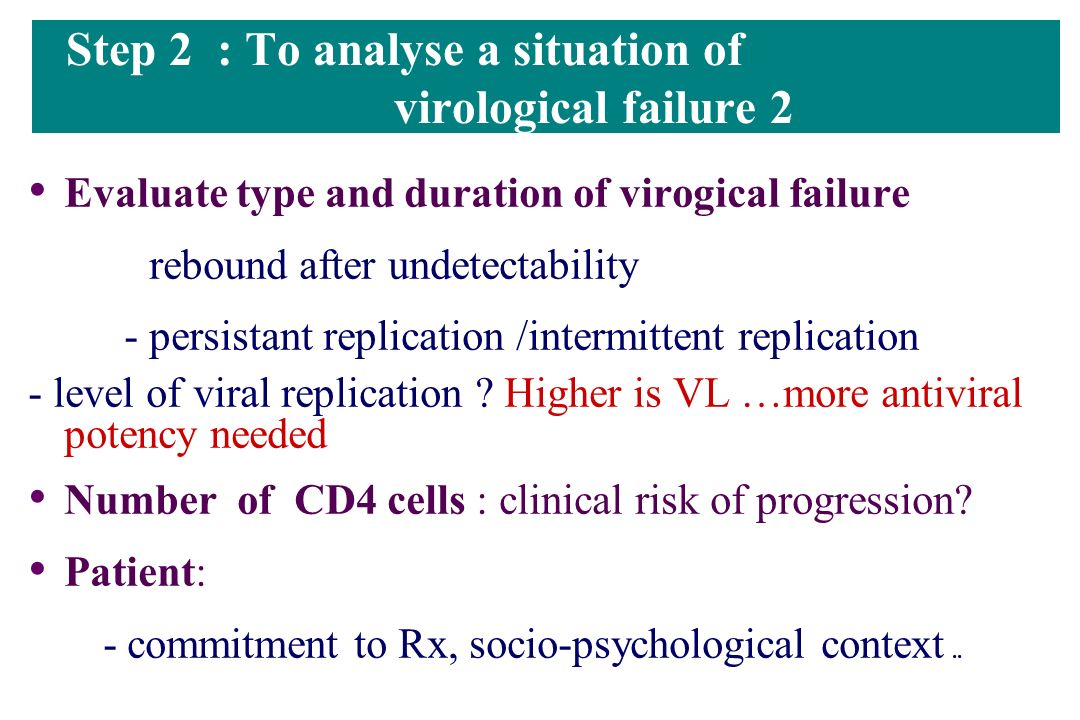 Step 2 : To analyse a situation of virological failure 2