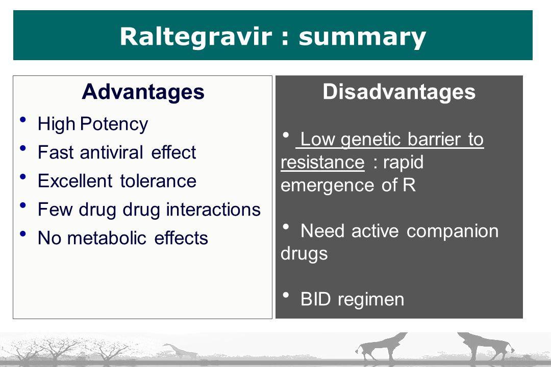 Raltegravir : summary Disadvantages