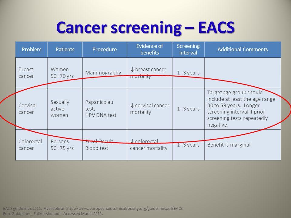 Cancer screening – EACS