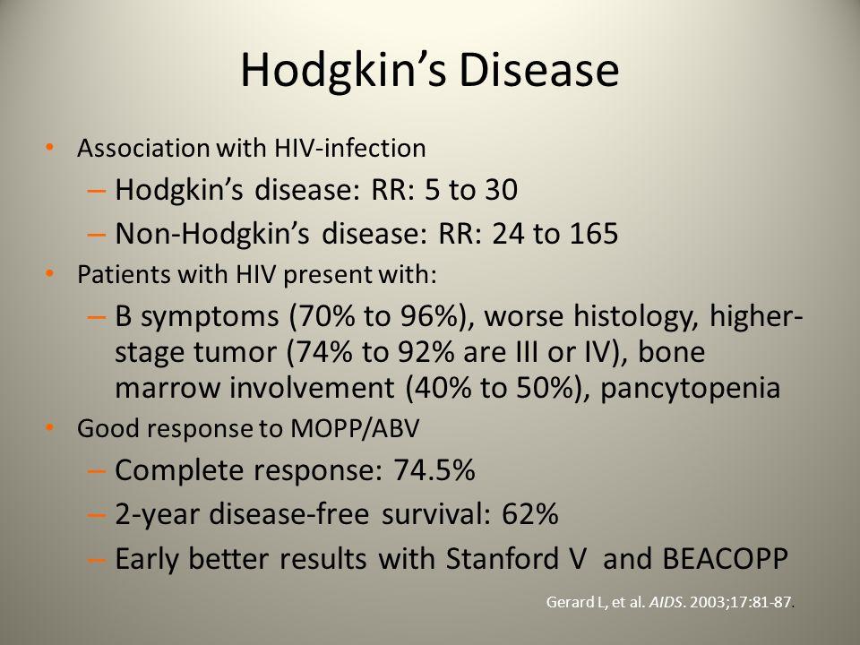Hodgkin's Disease Hodgkin's disease: RR: 5 to 30