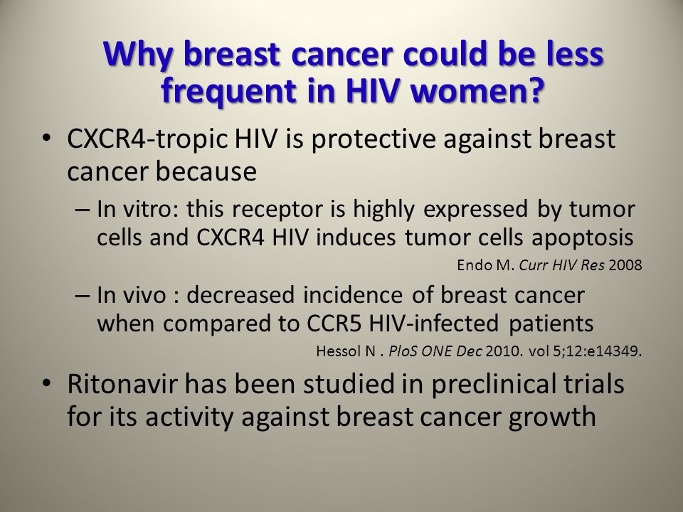 Why breast cancer could be less frequent in HIV women