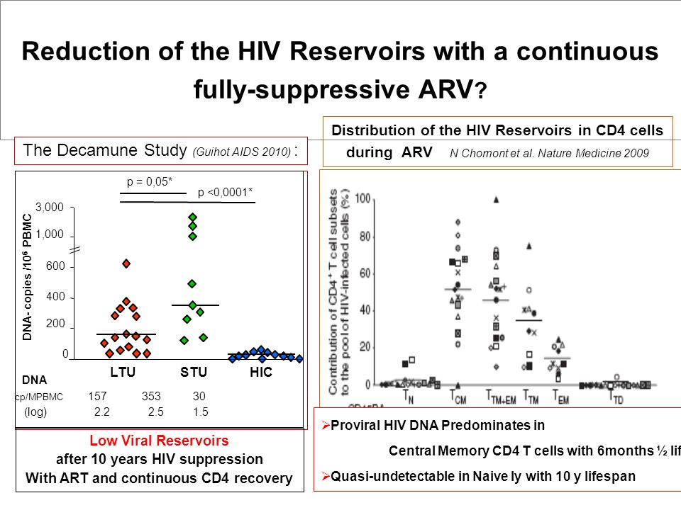 Reduction of the HIV Reservoirs with a continuous fully-suppressive ARV
