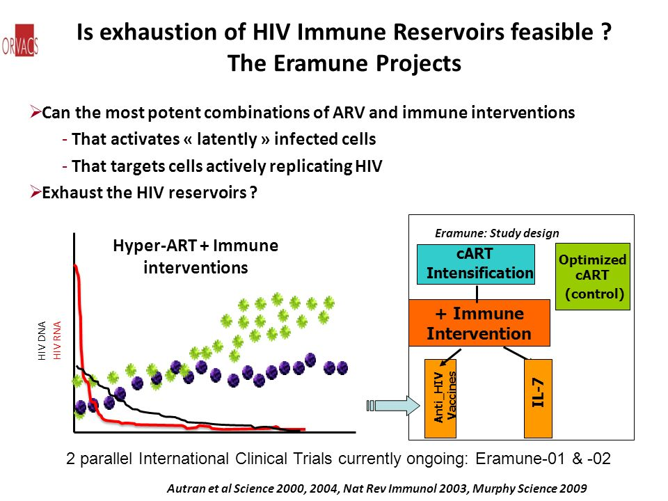 Is exhaustion of HIV Immune Reservoirs feasible The Eramune Projects