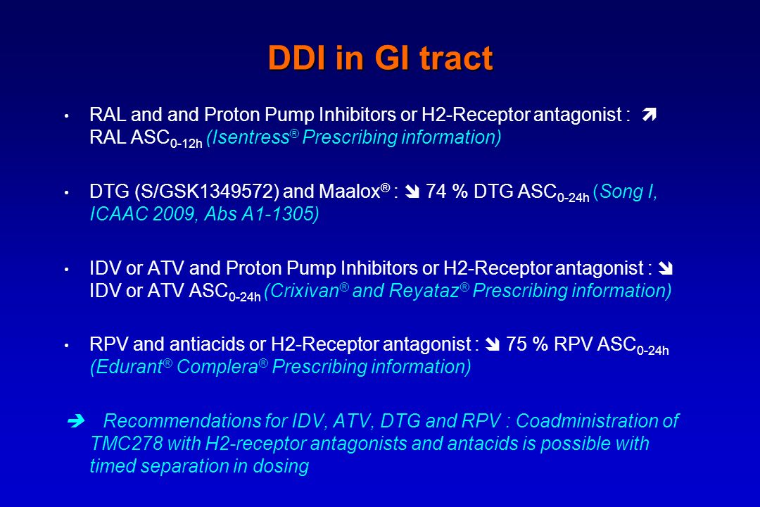 DDI in GI tract RAL and and Proton Pump Inhibitors or H2-Receptor antagonist :  RAL ASC0-12h (Isentress® Prescribing information)