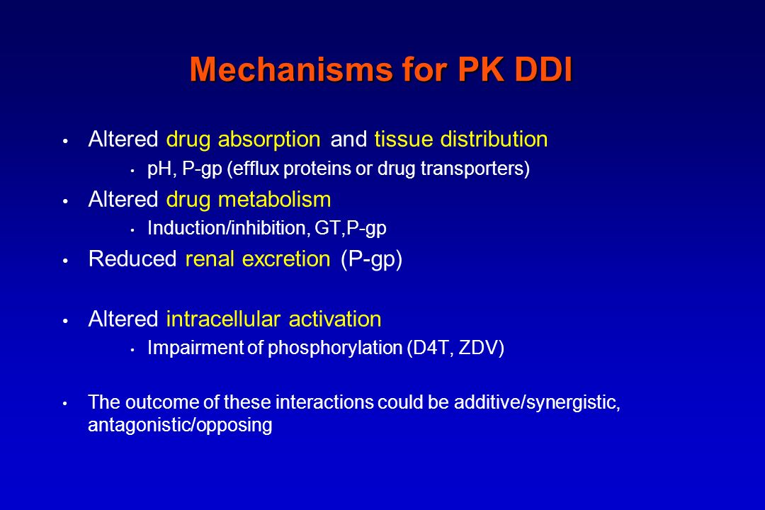 Mechanisms for PK DDI Altered drug absorption and tissue distribution