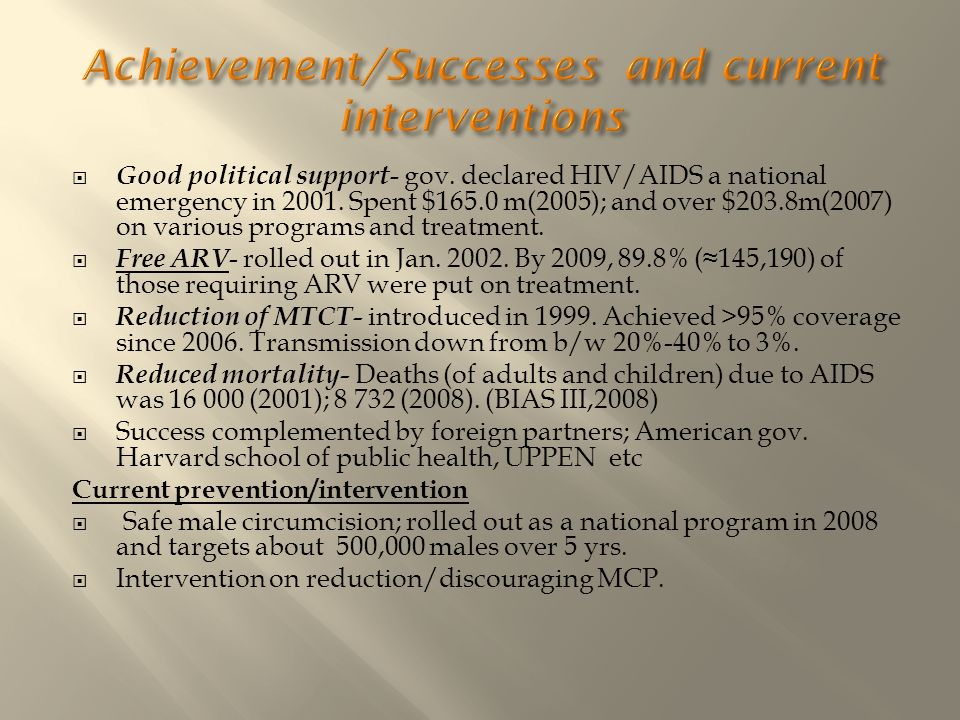 Achievement/Successes and current interventions