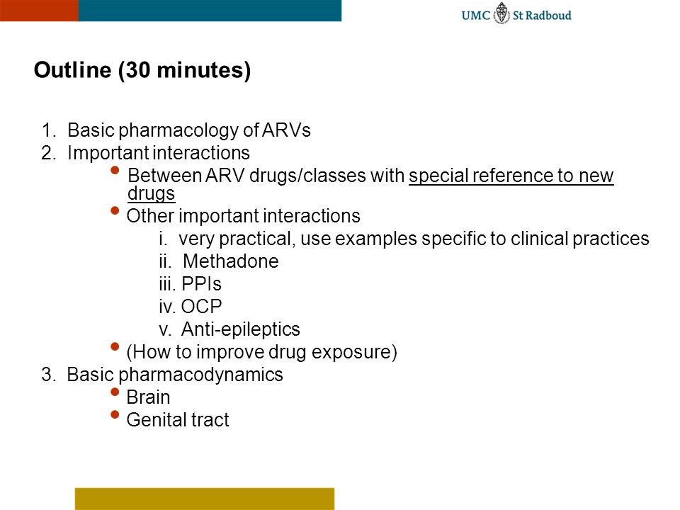 Outline (30 minutes) 1. Basic pharmacology of ARVs