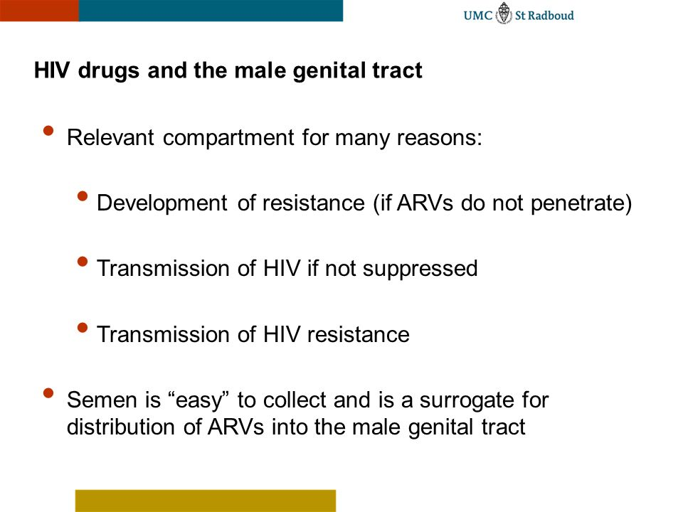 HIV drugs and the male genital tract