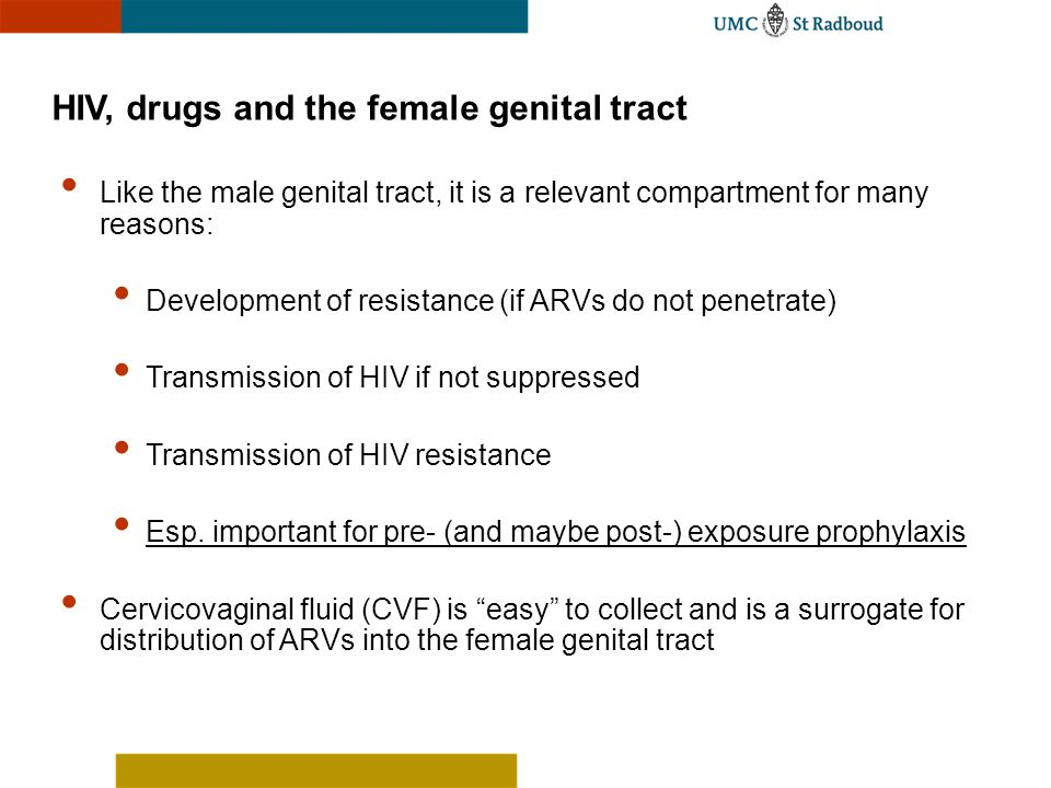 HIV, drugs and the female genital tract