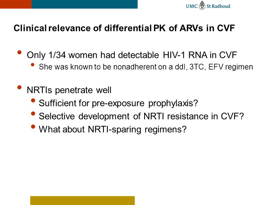 Clinical relevance of differential PK of ARVs in CVF