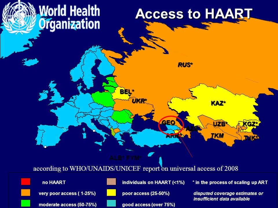 according to WHO/UNAIDS/UNICEF report on universal access of 2008