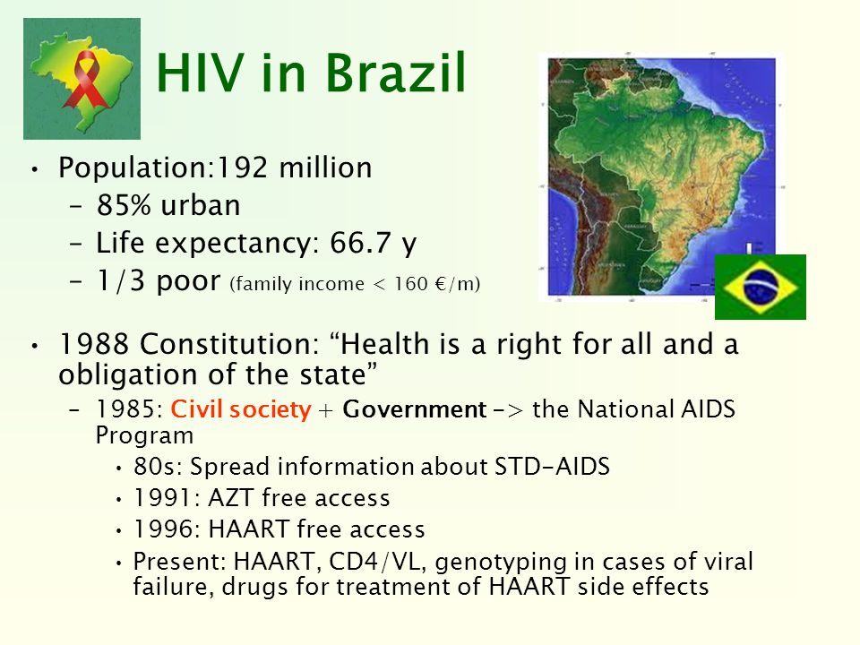 HIV in Brazil Population:192 million 85% urban Life expectancy: 66.7 y
