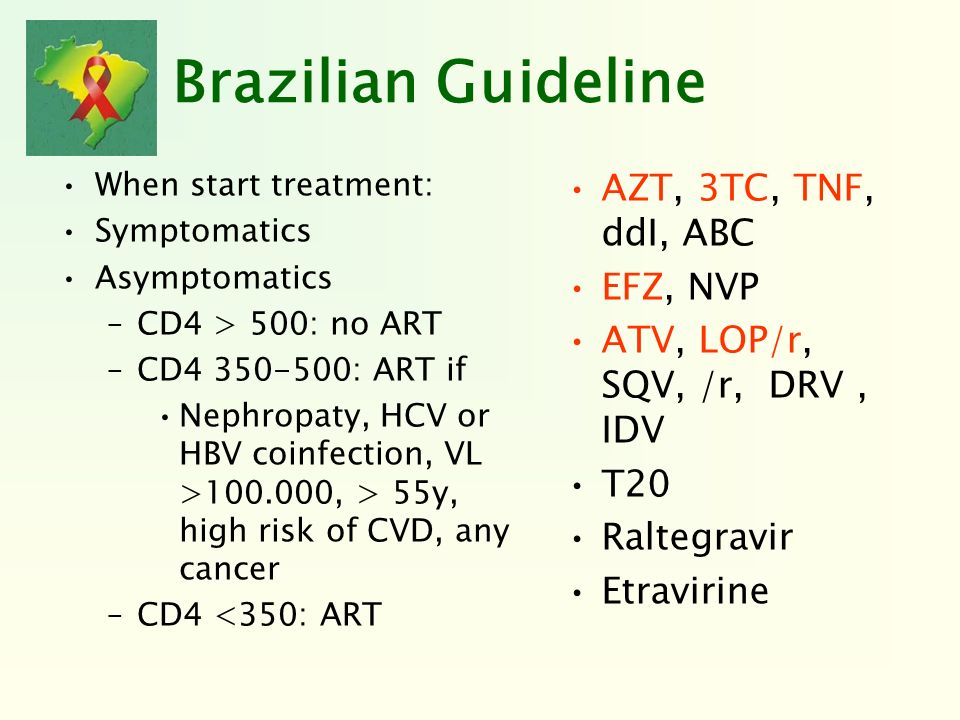 Brazilian Guideline AZT, 3TC, TNF, ddI, ABC EFZ, NVP
