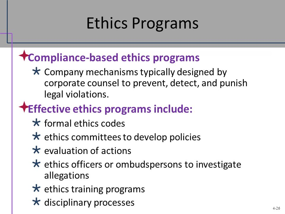 ethics training program Components of an ethics program ethics hotline:  ethics training: ethics training customized with your organization's ethics code and ethics hotline.