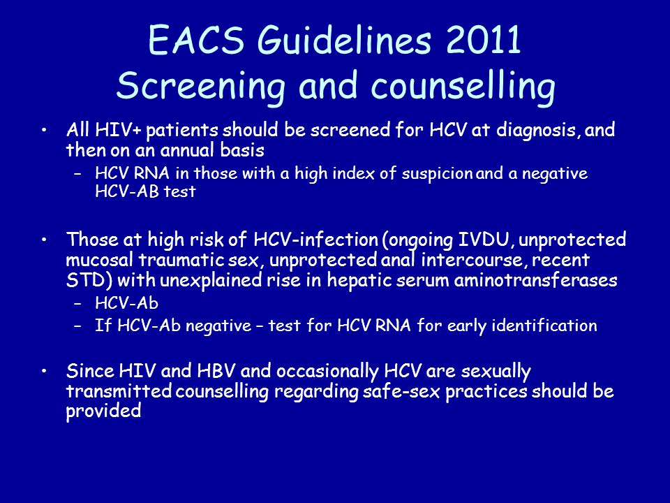 EACS Guidelines 2011 Screening and counselling