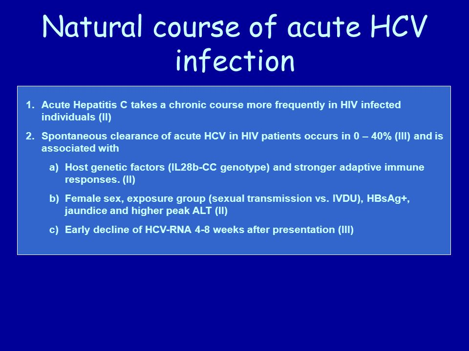 Natural course of acute HCV infection