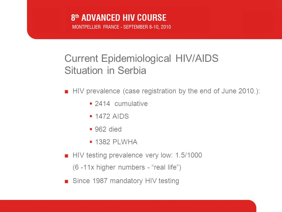 Current Epidemiological HIV/AIDS Situation in Serbia