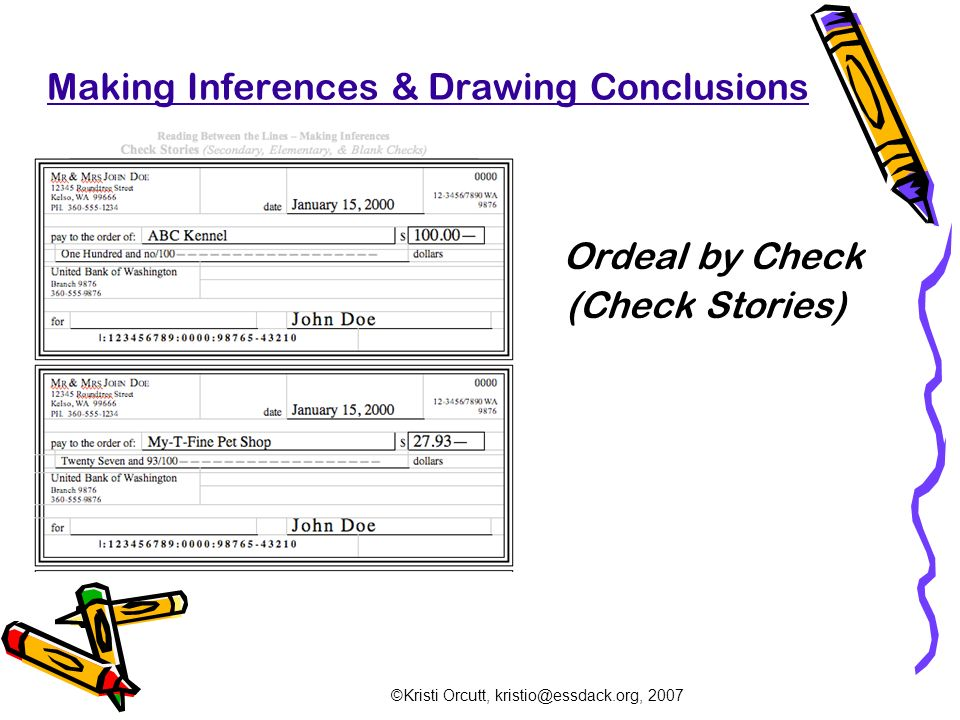 """ordeal by cheque This is the educational generation of close reading as literature teachers, we want our students to be observant and witty to think critically and with creativity """"ordeal by cheque"""" allows students the opportunity to observe everything as they peruse each individual check, they must create."""
