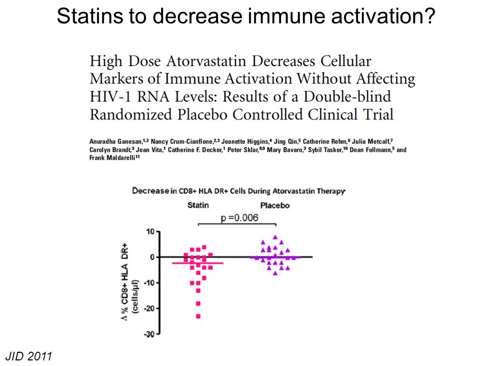 Statins to decrease immune activation