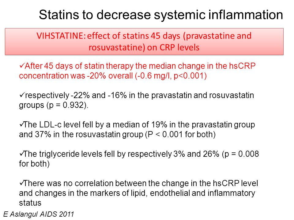 Statins to decrease systemic inflammation