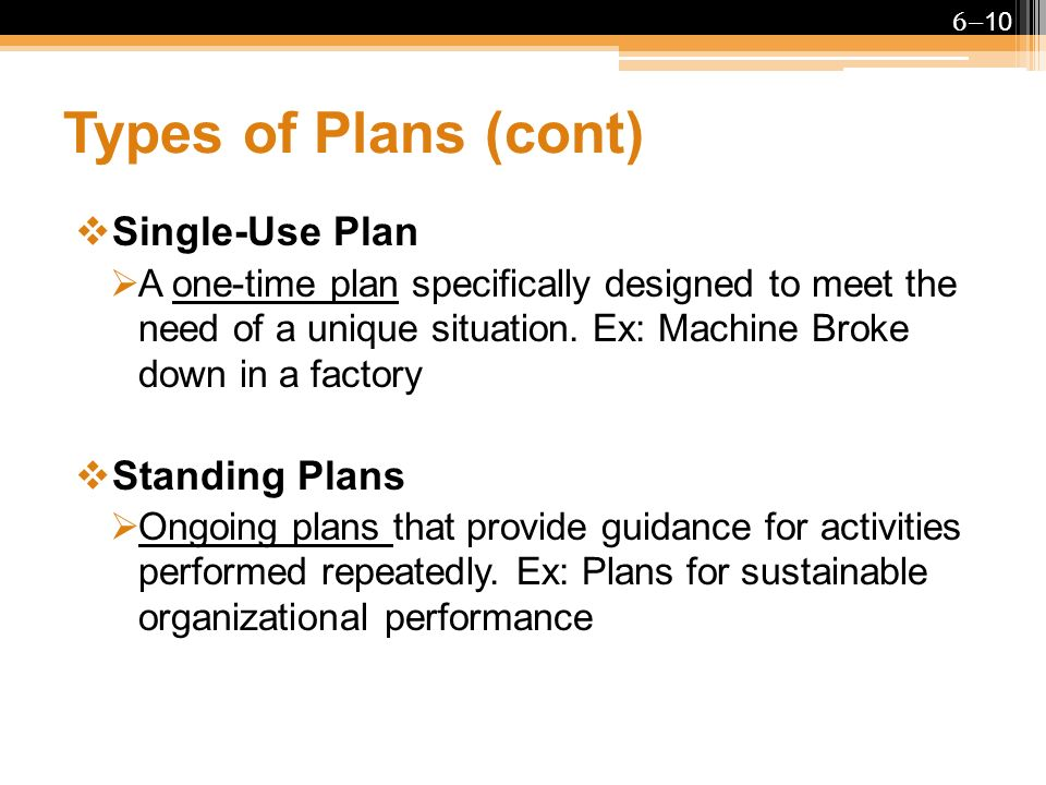 types of standing plans Managers carry out the functions of planning, organizing, staffing, leading and   the three main types of standing plans are policies, procedures and rules.