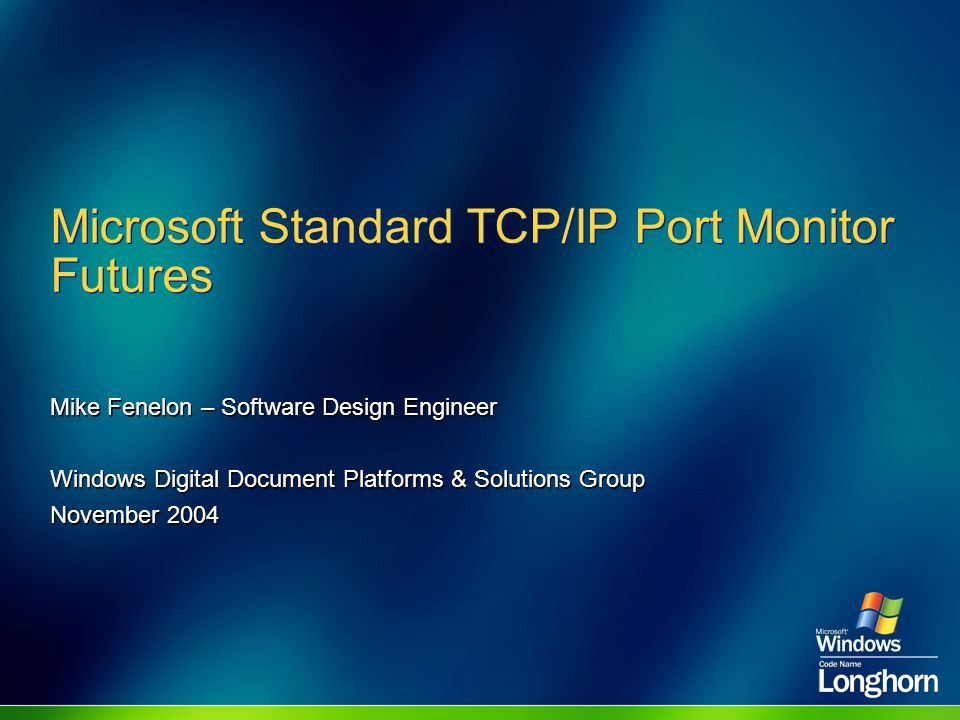 Microsoft Standard TCP/IP Port Monitor Futures
