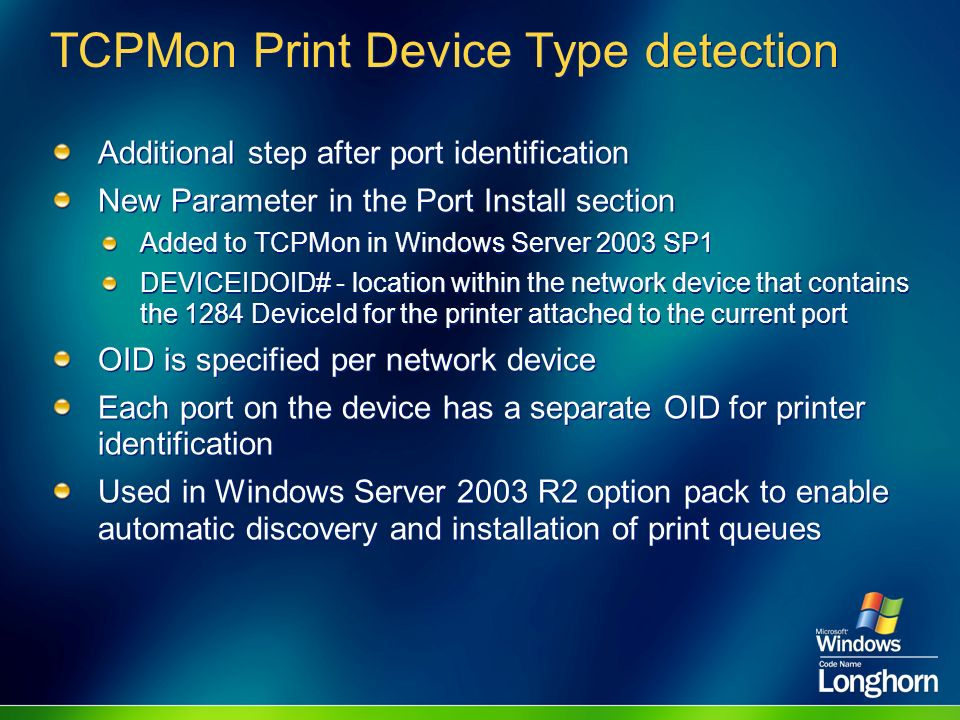 TCPMon Print Device Type detection