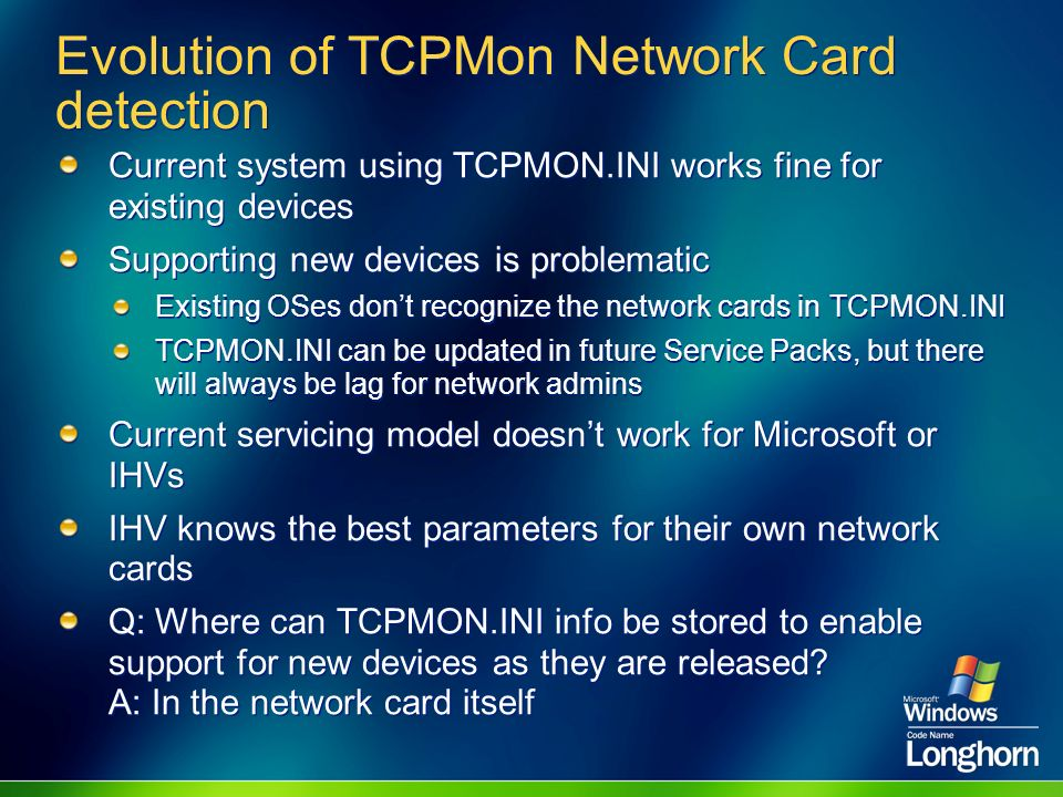 Evolution of TCPMon Network Card detection