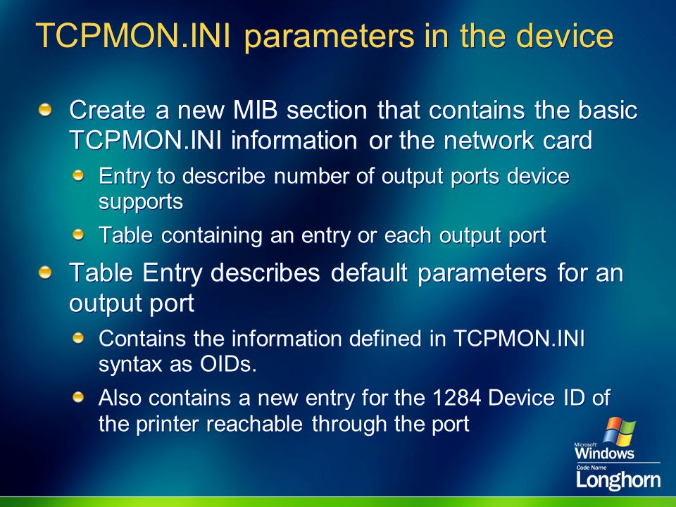 TCPMON.INI parameters in the device