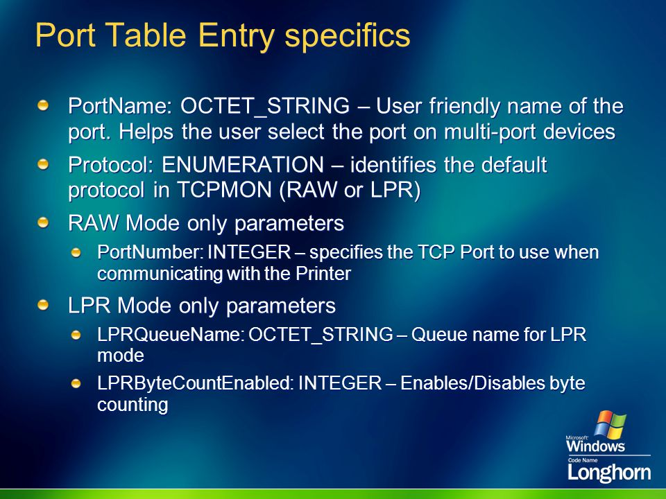 Port Table Entry specifics