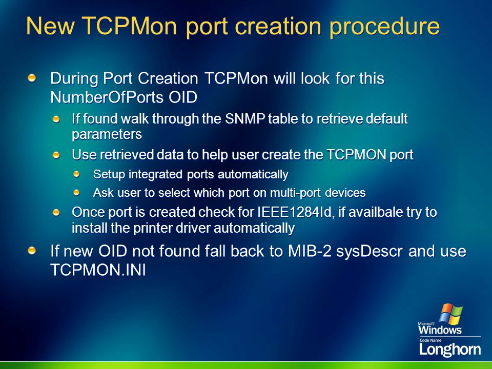 New TCPMon port creation procedure