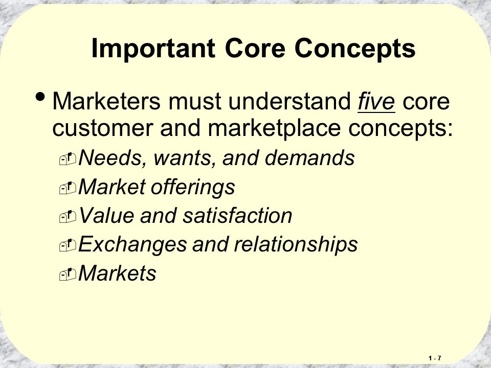 five core customers marketplace concepts 16) market offerings include entities such as people, places, information, and ideas answer: true diff: 2 lo: 1-2: explain the importance of understanding the marketplace and customers and identify the five core marketplace concepts.