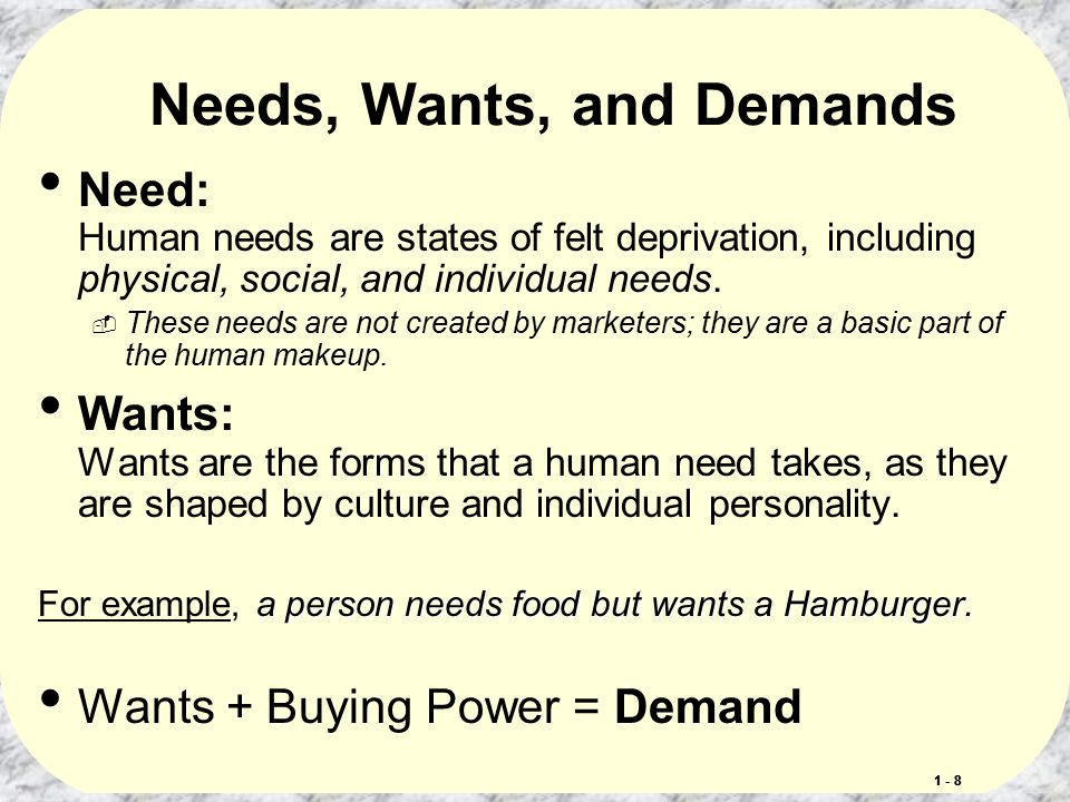 needs wants demands Concept 1 - needs, wants & demand needs all humans have needs these needs are a state of felt deprivation, can often be complex, and varied (eg physical, social, individual) wants wants are needs shaped by culture and individual personality.