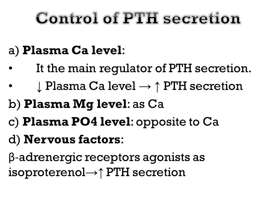 Control of PTH secretion