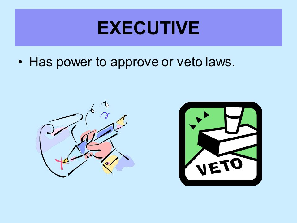 EXECUTIVE Has power to approve or veto laws.