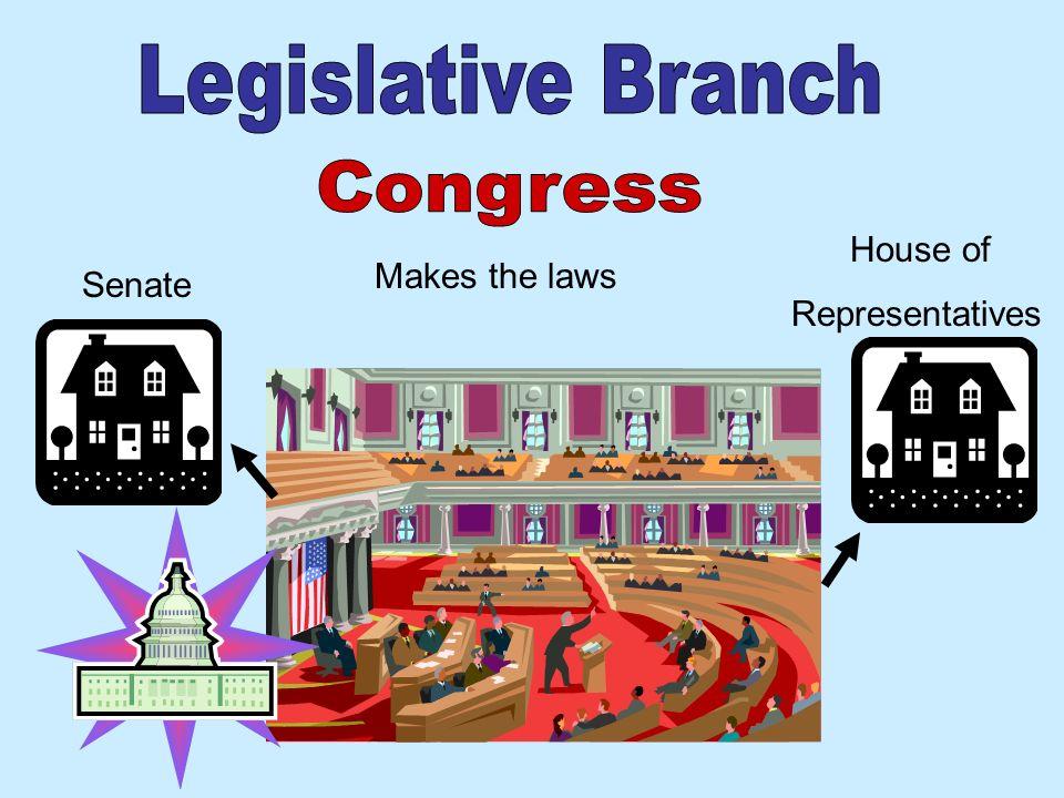 Legislative Branch Congress House of Representatives Makes the laws