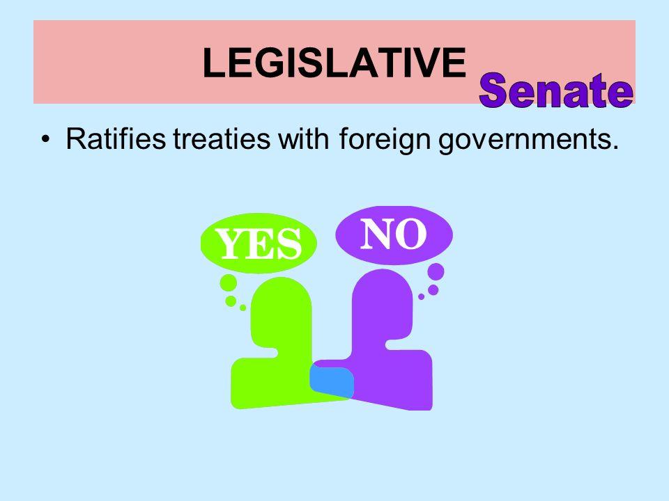 LEGISLATIVE Senate Ratifies treaties with foreign governments.