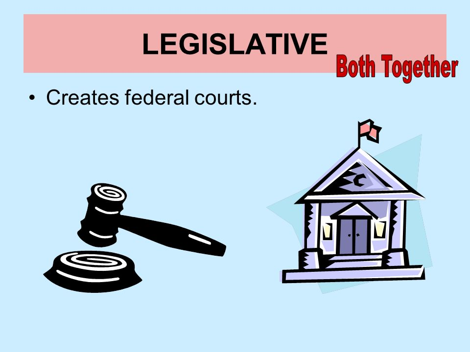 LEGISLATIVE Both Together Creates federal courts.