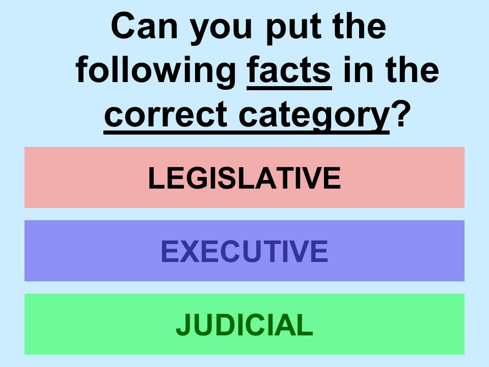 Can you put the following facts in the correct category