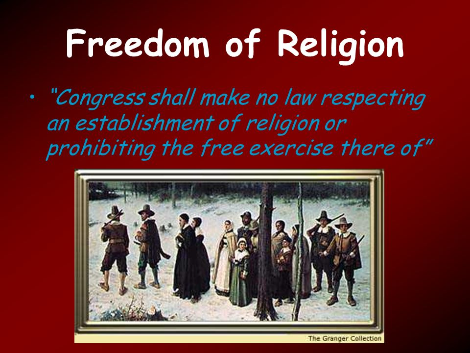 "congress shall make no law respecting an establishment of religion The first amendment has ""congress shall make no law respecting the establishment of religion"" — what is the establishment of religion it doesn't say — it doesn't have — ""wall of."