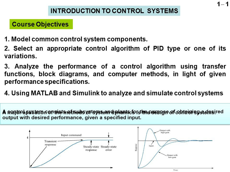 introduction to control systems Introduction to automation system sariati page 1 unit 1 : introduction to automation system general objectives 1 understand and learn about automation control systems and types of automation control.