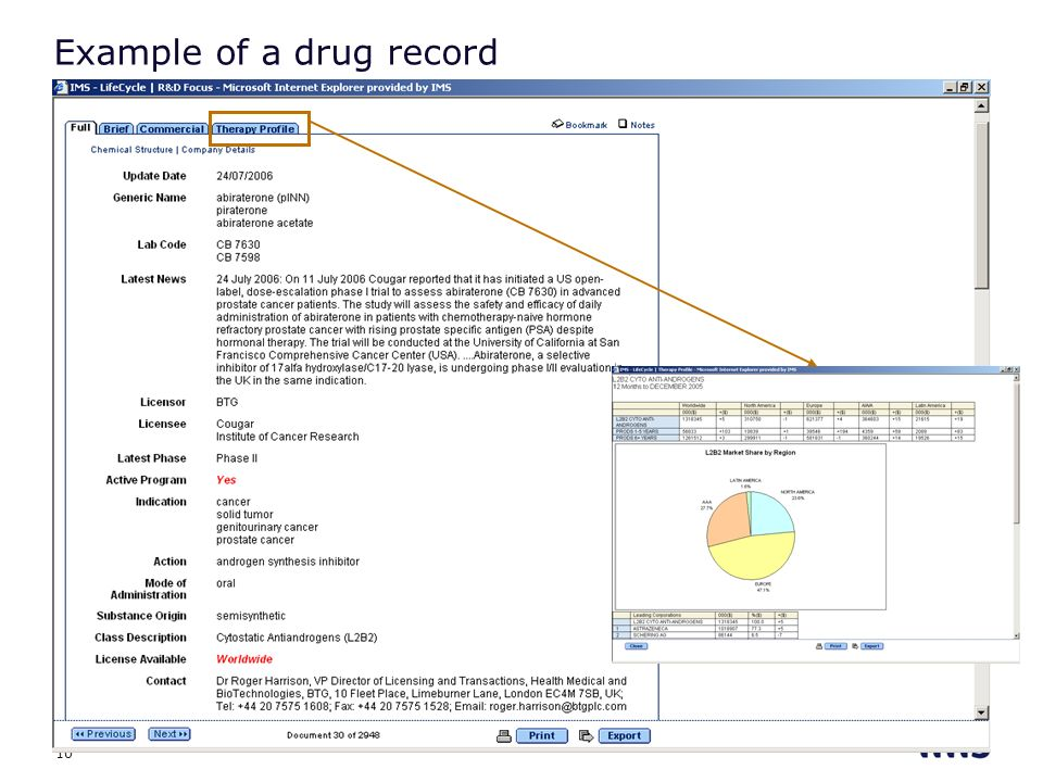 Example of a drug record