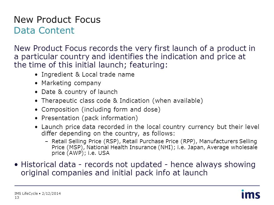 New Product Focus Data Content