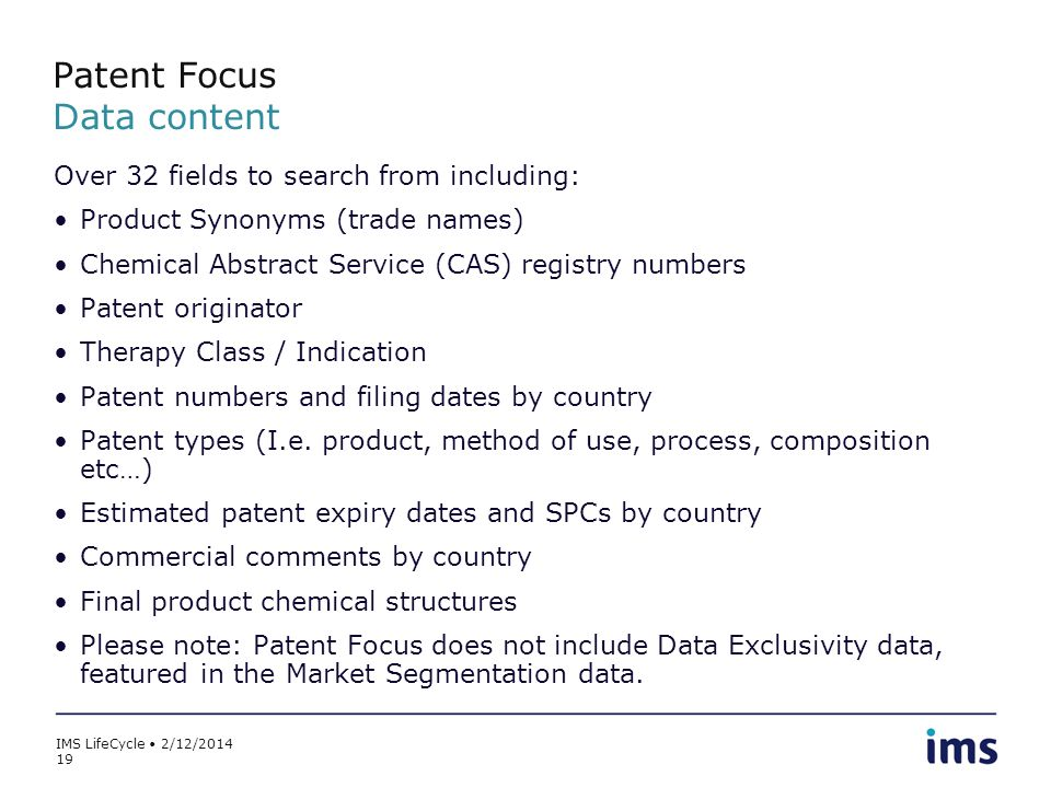Patent Focus Data content